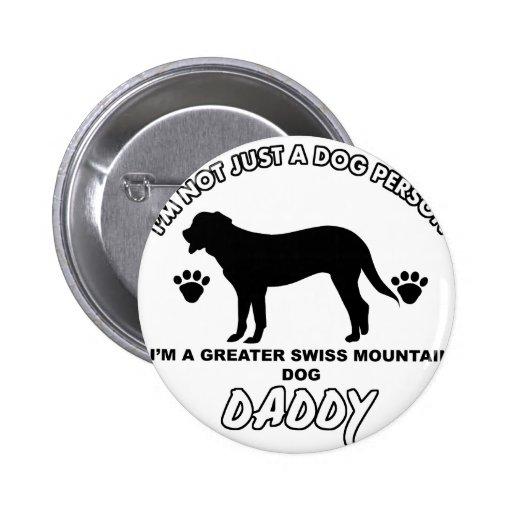 Mayor papá suizo del perro de la montaña pin redondo 5 cm