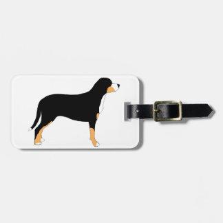 mayor silueta suiza del color del perro de la mont etiquetas de equipaje