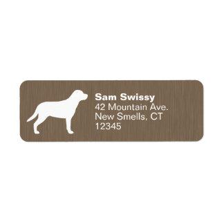 Mayor silueta suiza del perro de la montaña etiqueta de remitente