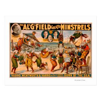 Mayores trovadores - manojo de payasos en la playa tarjetas postales