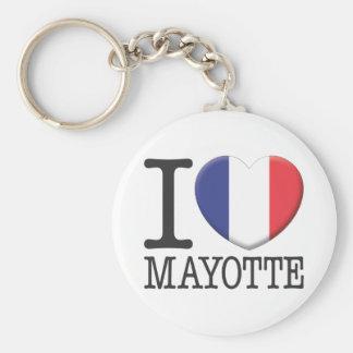 Mayotte Basic Round Button Keychain