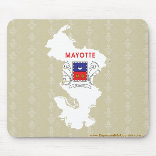 Mayotte Flag Map full size Mouse Pads