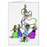 Maypole Dancers Card Greeting Card