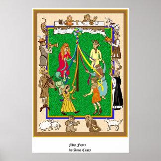 Maypole, Medieval Fayre Print