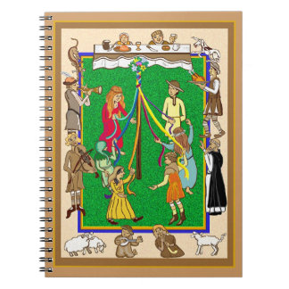 Maypole, medieval feast spiral note books