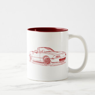 Maz Miata MX5 gen1 1991 sketch Two-Tone Coffee Mug