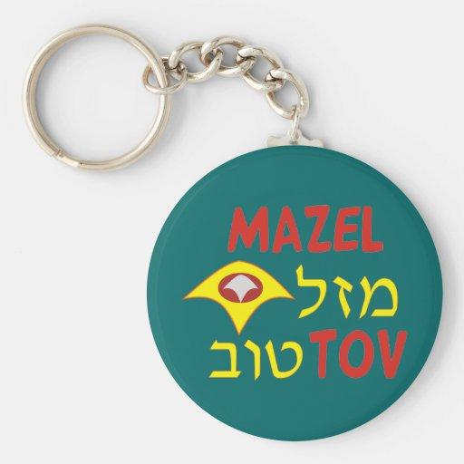 Mazal Tov Basic Round Button Keychain