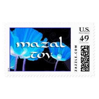 mazal tov poppies black postage stamp
