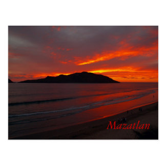 Mazatlan, Mexico ......   Blazing Sunset Postcard