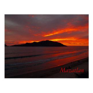 Mazatlan, puesta del sol ardiente   de México Tarjetas Postales
