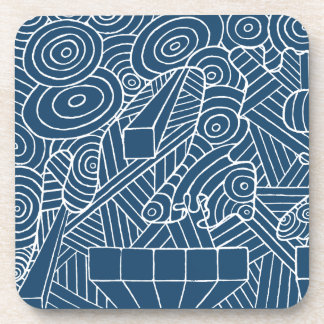 Maze of map coaster with cute doodle pattern