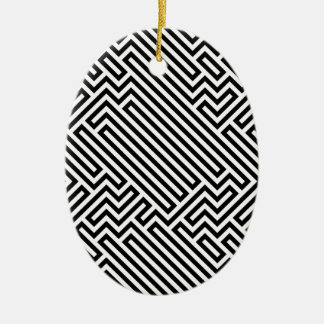 Maze Double-Sided Oval Ceramic Christmas Ornament