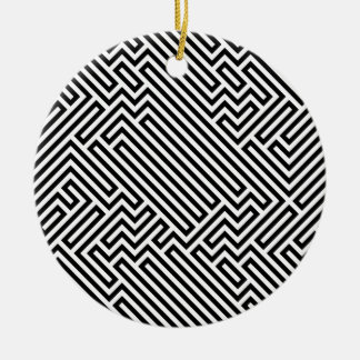 Maze Double-Sided Ceramic Round Christmas Ornament