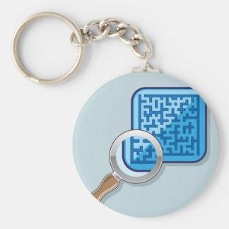 Maze under Magnifying Glass vector Basic Round Button Keychain