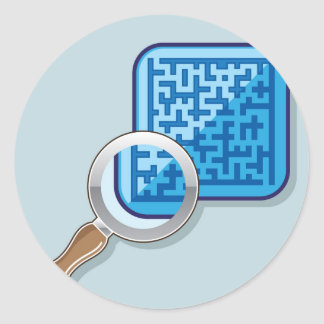 Maze under Magnifying Glass vector Classic Round Sticker