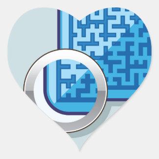 Maze under Magnifying Glass vector Heart Sticker
