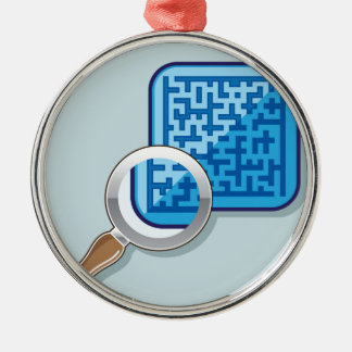 Maze under Magnifying Glass vector Metal Ornament