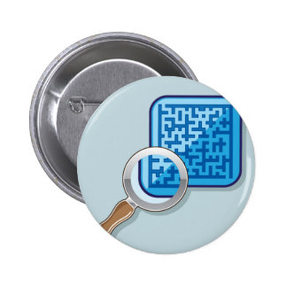 Maze under Magnifying Glass vector Pinback Button