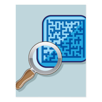 Maze under Magnifying Glass vector Postcard