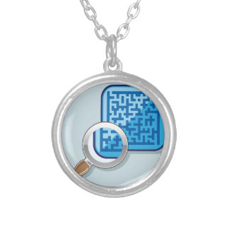 Maze under Magnifying Glass vector Round Pendant Necklace