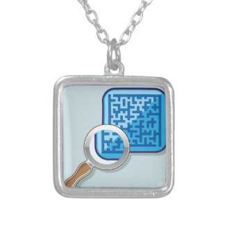 Maze under Magnifying Glass vector Square Pendant Necklace
