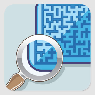 Maze under Magnifying Glass vector Square Sticker