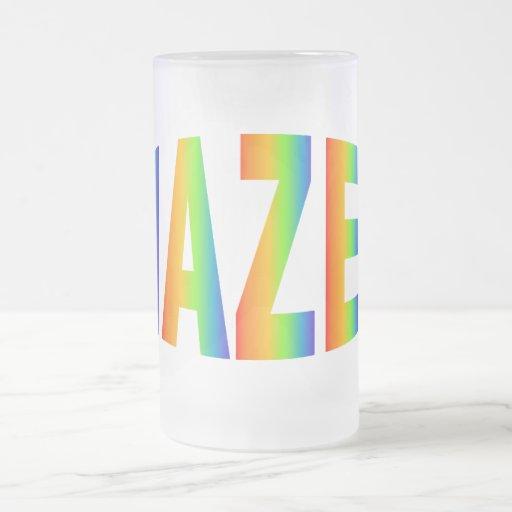 MAZEL 16 OZ FROSTED GLASS BEER MUG