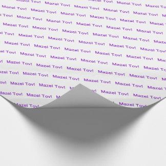 ¡Mazel púrpura Tov! (Enhorabuena) en blanco Papel De Regalo