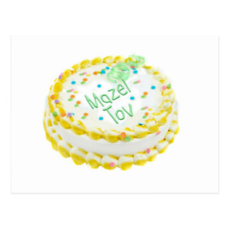 Mazel Tov cake with green and yellow frosting Postcard