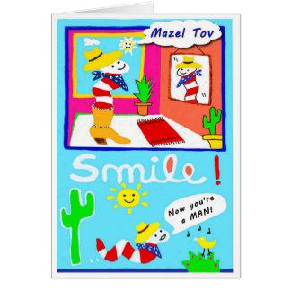 Mazel Tov en su tarjeta de Mitzvah de la barra