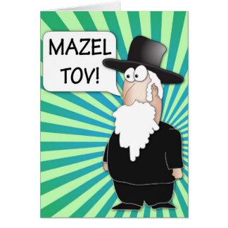 Mazel Tov Greeting Card - Jewish Rabbi cartoon