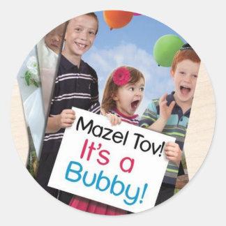 """Mazel Tov! It's a Bubby!"" book cover apparel Classic Round Sticker"