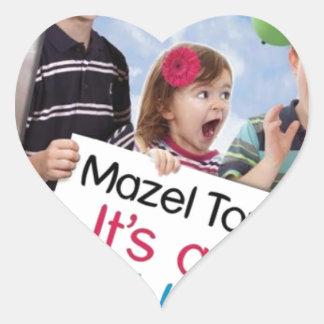 """""""Mazel Tov! It's a Bubby!"""" book cover apparel Heart Sticker"""