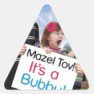 """""""Mazel Tov! It's a Bubby!"""" book cover apparel Triangle Sticker"""