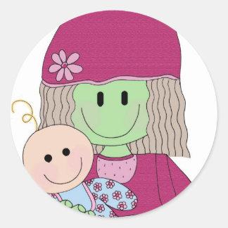 mazey-and-babydoll classic round sticker
