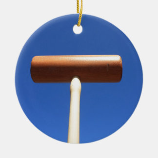 Mazo de croquet adorno navideño redondo de cerámica