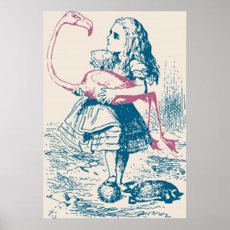 Mazo de croquet de Alicia y del flamenco Póster