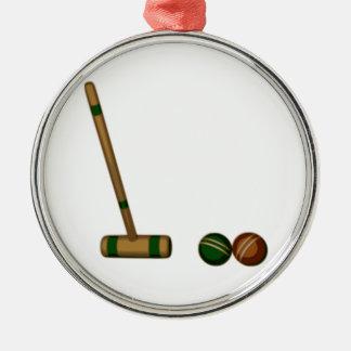Mazo y bolas de croquet adorno navideño redondo de metal