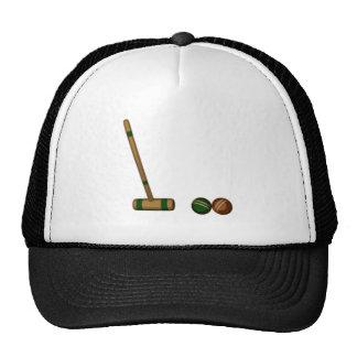 Mazo y bolas de croquet gorra