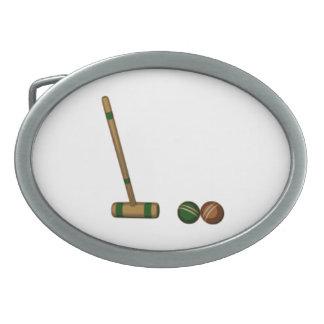 Mazo y bolas de croquet hebillas de cinturón ovales