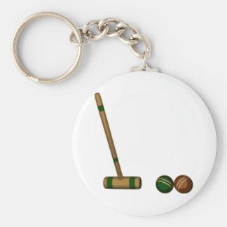 Mazo y bolas de croquet llavero redondo tipo pin