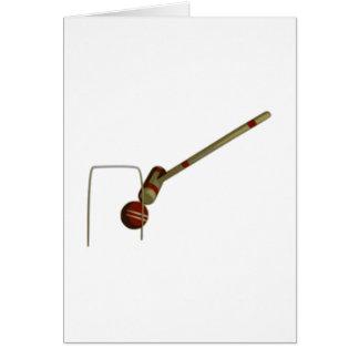 Mazo y bolas de croquet tarjeta de felicitación