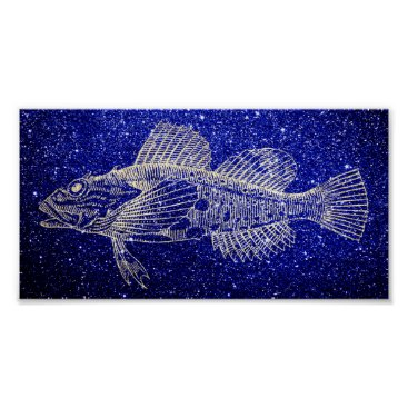 Beach Themed Mazola Deep Sea Fish Blue Navy Beach Foxier Gold Poster