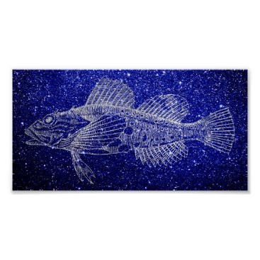 Beach Themed Mazola Deep Sea Fish Blue Navy Silver Gray Beach Poster