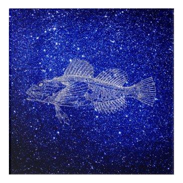 Beach Themed Mazola Deep Sea Fishes Blue Navy Silver Gray Blush Acrylic Wall Art
