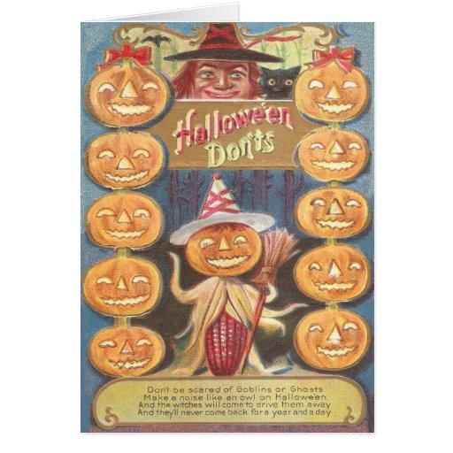 Mazorca de maíz del palo de la linterna de Jack O  Felicitaciones