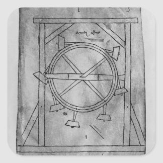 Mazos y rueda del movimiento supuesto perpetuo pegatina cuadradas