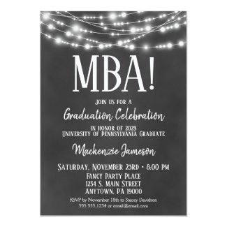 MBA Business Admin Graduation Party Invitation