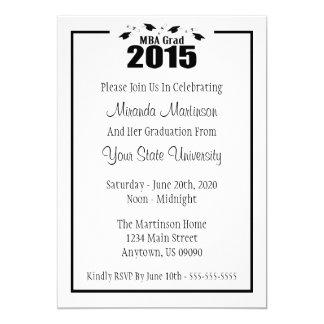 """MBA Grad 2015 Graduation Invite (Black Caps) 5"""" X 7"""" Invitation Card"""