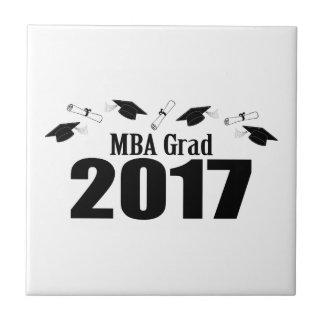 MBA Grad 2017 Caps And Diplomas (Black) Ceramic Tile
